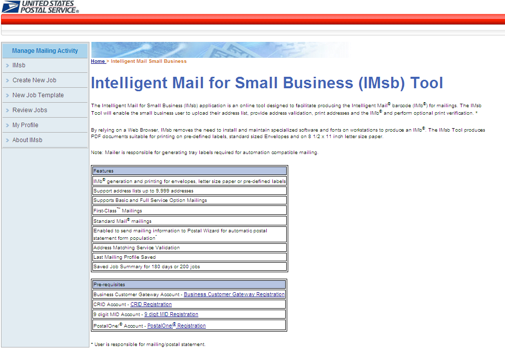 IMsb User Guide Jan 2013 From the Intelligent Mail for Small Business (IMSB) page, click Authorization complete. Click to continue.