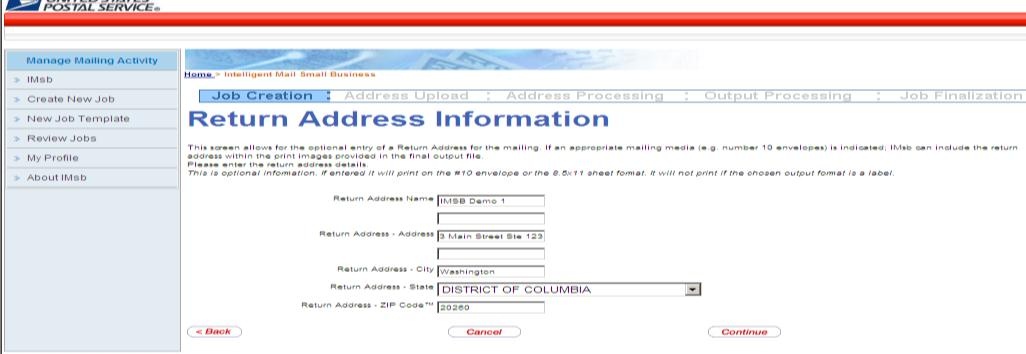 IMsb User Guide Jan 2013 Click Continue The Return address screen provides you with the option to print the return address on your mailpiece.