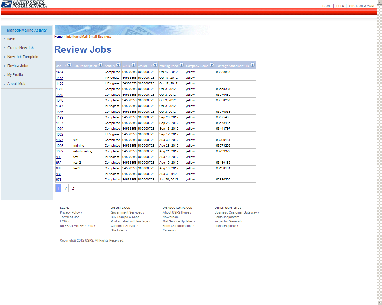 IMsb User Guide Jan 2013 ADDITIONAL FUNCTIONS Review Jobs contains a listing of the Jobs that the user has created on IMsb.