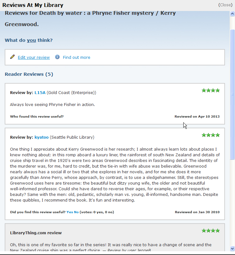 Review by customer from Gold Coast Libraries displays alongside review by a