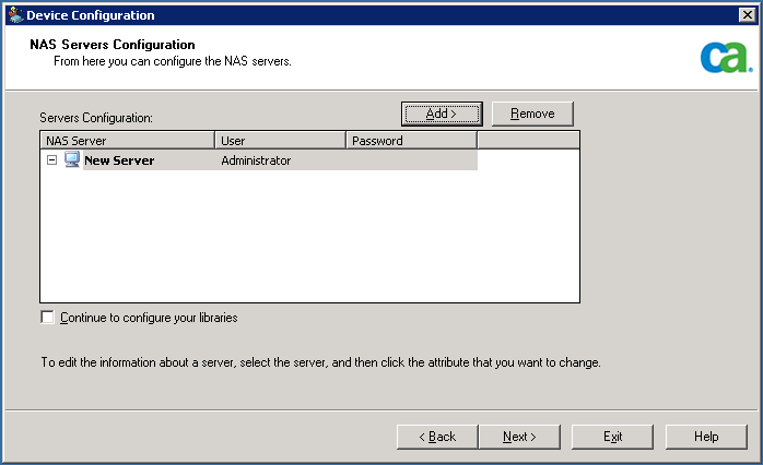 Configuration 5. Highlight New Server and enter the name of the NAS server, user name, and password.