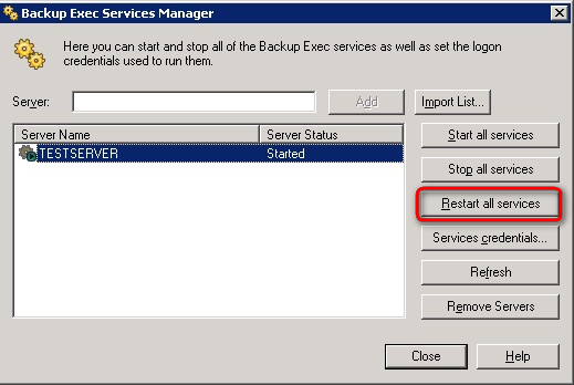 Click Restart all services to restart BE services.