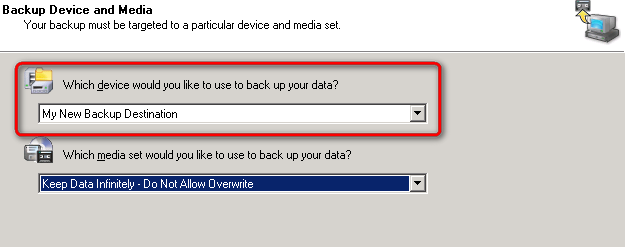 Select the shared folder as the backup destination - Start the backup wizard, choose custom settings. - Follow the wizard until you are prompted to choose the backup device and media.