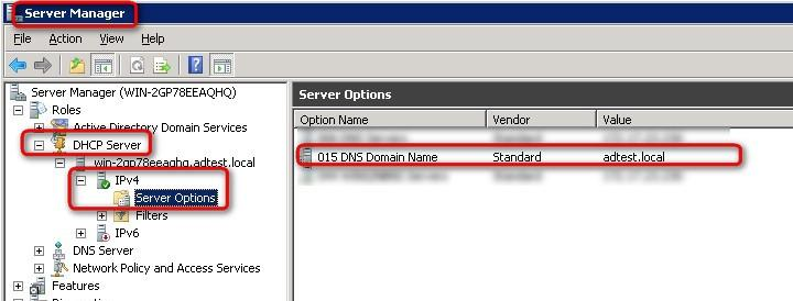 o Make sure your domain DNS suffix has been correctly set up in your Windows Server (see the picture below Figure 41) in the advanced network interface properties.