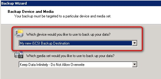Select the NAS as destination - Start the backup wizard, choose custom settings. - Follow the wizard until you are prompted to choose the backup device and media.