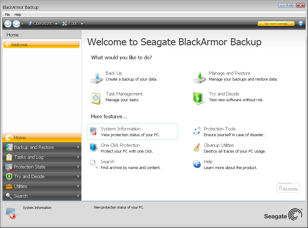 Seagate BlackArmor Backup also enables the creation of a bootable CD-R/DVD-R that can back up and restore a disk/partition on a computer running any Intel- or AMD- based PC operating system,