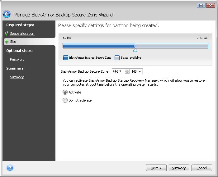 4. In the next window, enter the BlackArmor Backup Secure Zone size or drag the slider to select any size between the minimum and maximum ones.