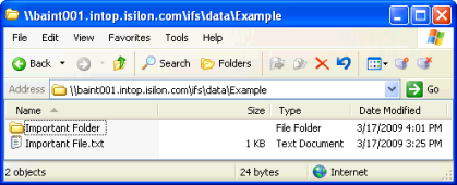 5. Copy the Important Folder directory from the snapshot location back to the original location and continue working. Figure 13 - Snapshot shows directory that needs restored.