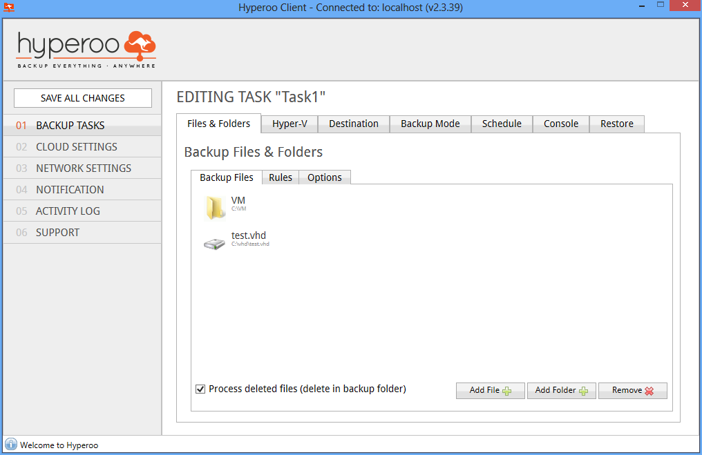 13 Selecting files and folders Begin by selecting the files and folders that you wish to back up. Note that there are separate buttons for adding files and folders. Fig.