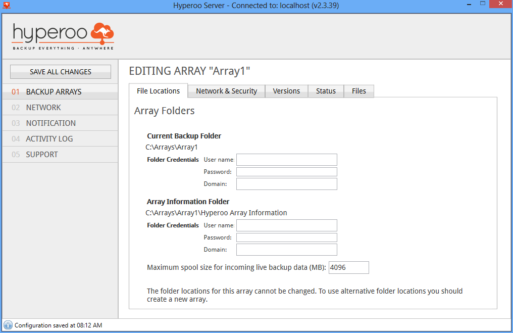 6 Enter a name for the array and specify the array folder. The array folder is where the backup files will be stored.