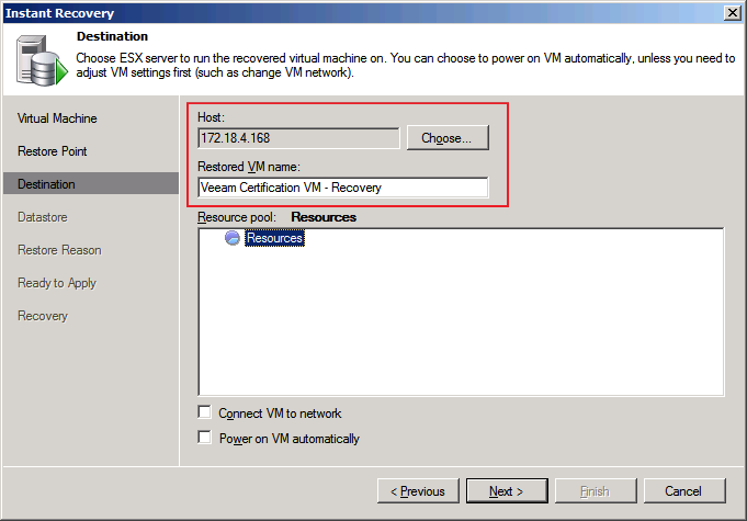 Figure 20: Choose the restore destination and configure the recovered VM settings After clicking the Next