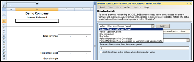 FINANCIAL REPORTING XCELLEGEN MODEL Once your data is organized in an XCELLEGEN Accounting Intelligent Databases, you create as many XCELLEGEN Excel models as you wish.