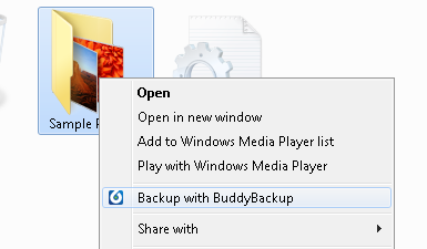 The second way BuddyBackup integrates with Windows Explorer is that it adds a Context Menu. The Context Menu is what appears when you right click on files in Explorer.
