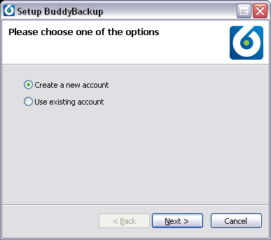 4 Setting up 1. The first time you run BuddyBackup you will be presented with the following screen. 2. If you want to set up a new machine for the first time, click Create a new account.