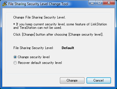 "Appendix 2 1 When the [Change File Sharing Security Level] window opens, select [Change security level]. 2 Click [Change]. 3 The message, ""Change security level. Will you continue? is displayed."