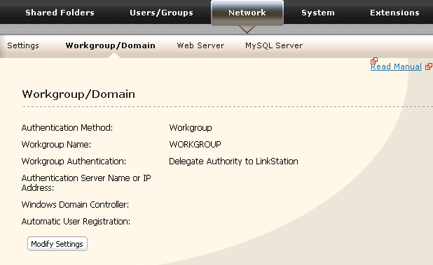 1 1 In the Web Admin interface, navigate to [Network] - [Workgroup/Domain]. 2 Click [Modify Settings]. 2 1 Click [Workgroup] (even if you are in a domain environment). 2 Enter the [Workgroup Name].