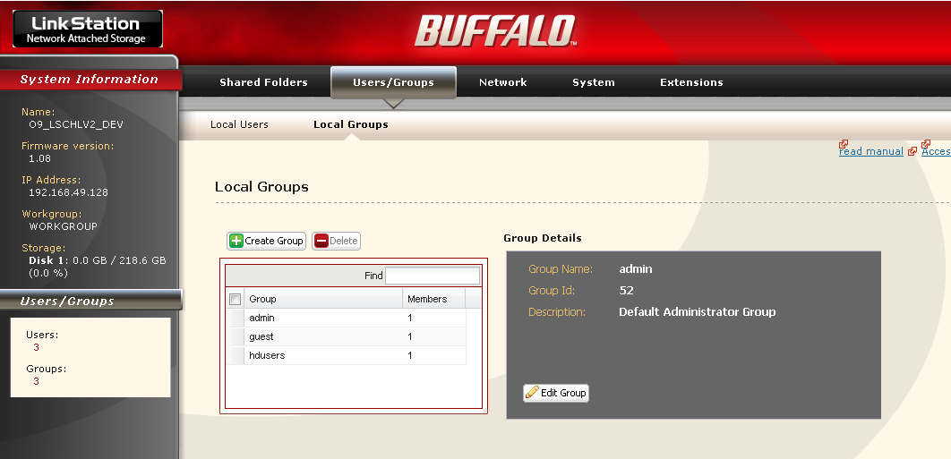Adding Groups Add groups as shown below: 1 1 In the Web Admin interface, navigate to [Users/ Groups] - [Local Groups]. 2 Click [Create Group]. 2 1 Enter [Groupe Name] and [Description].