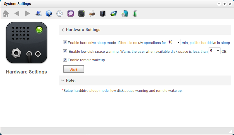 Hard Drive Sleep Mode Users can put hard drive into sleep mode when there is no read/write operations for certain amount of time.