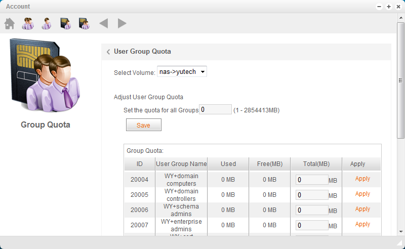 4.1.4 Group Quota U-NAS supports group quota. Please note that if a group exceeds its quota limit all users in that group will not be able to save files on U-NAS.