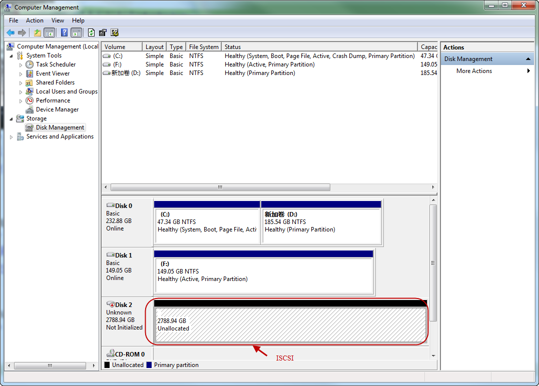 On your windows system, click Start->Control Panel-> Computer Manage->Disk Management Select