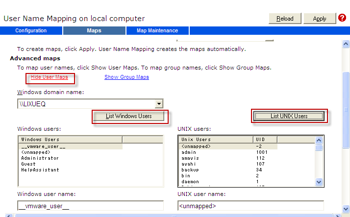 e) Click the Maps Tab Show Group Maps List UNIX Users f) Select the user from the list of Windows users and select