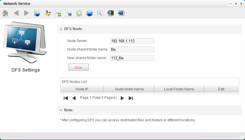 Input DFS node IP, shared folder on the node and the new folder name on U-NAS, Click Save to save the
