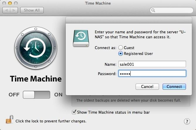 Select a U-NAS Time Machine, then click Use