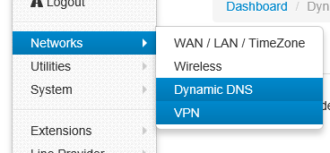 Dynamic DNS Here you can set the Dynamic DNS.