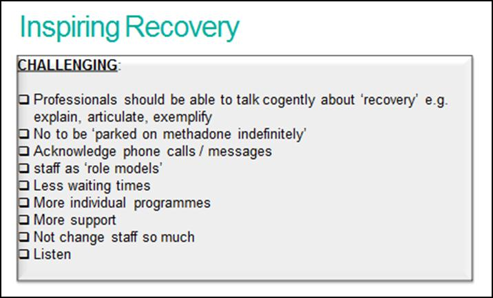 Figure 4 Practical Suggestions of How Staff Can Inspire Recovery The practical suggestions outlined above do provide insight into how services might be configured and developed in the future in order