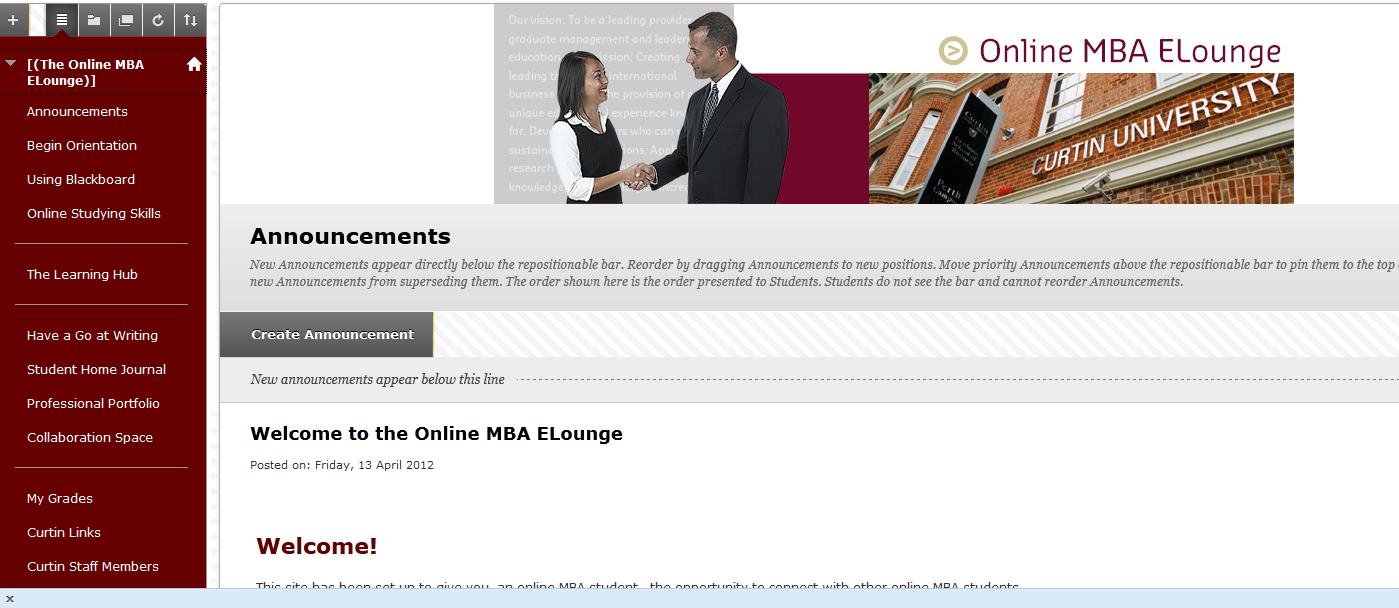 Figure 4: Online MBA Elounge Home Page As part of the MBA Elounge students are encouraged to publish their biographical details in the student home journal and network with other peers in the site.