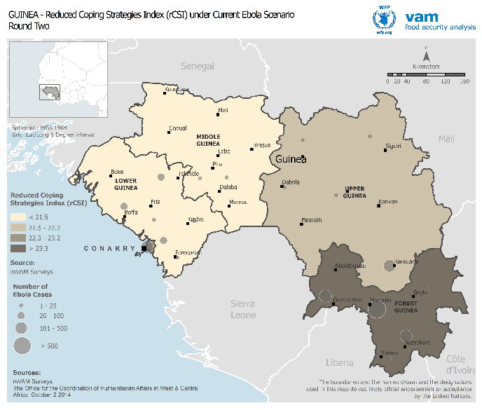 - 20 - Figure 9: Guinea - Food insecurity in October and November as measured by the rcsi overlaid with Ebola cases for the corresponding periods Estimated food insecurity Sources: WFP mvam surveys,