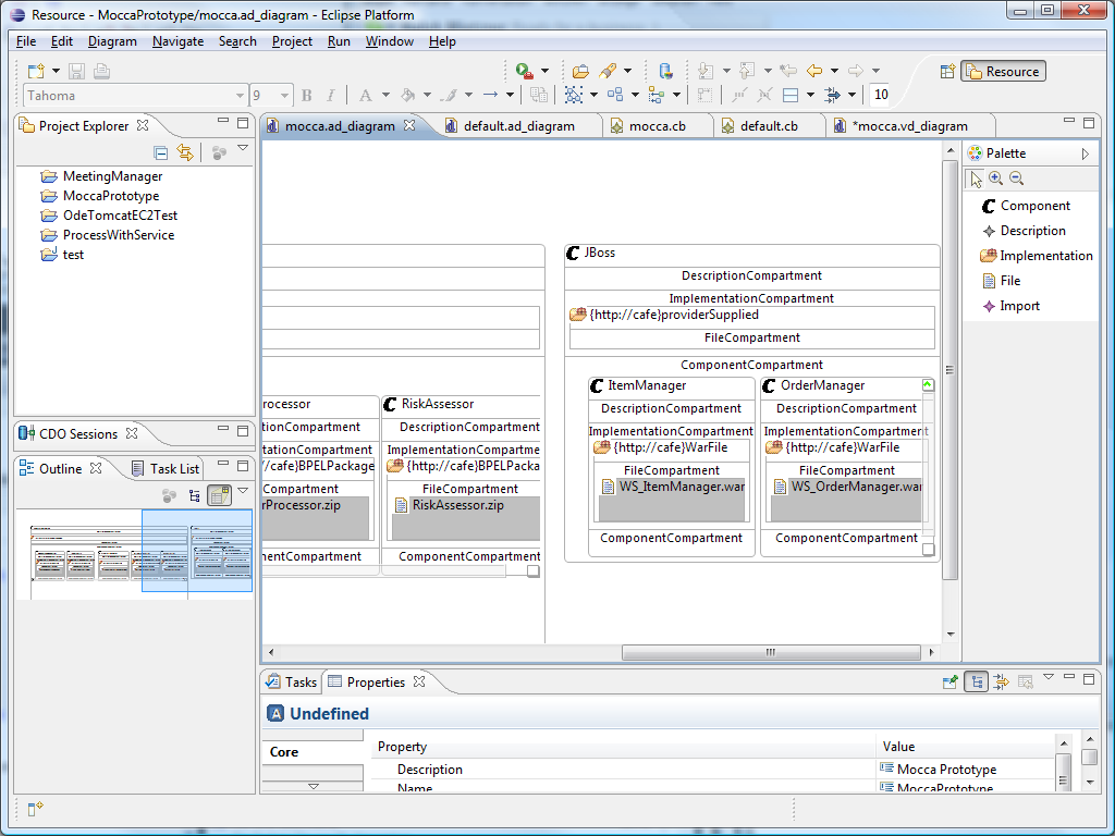from a Cafe application template archive (Car file). This Car file can then be uploaded to any Cafe application portal. Figure 6.2 shows a screenshot of the modeler. Figure 6.2: Application model editor 6.