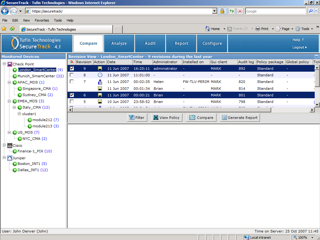 GUI - Main page List of Monitored Management Servers and Devices 46 GUI - Policy