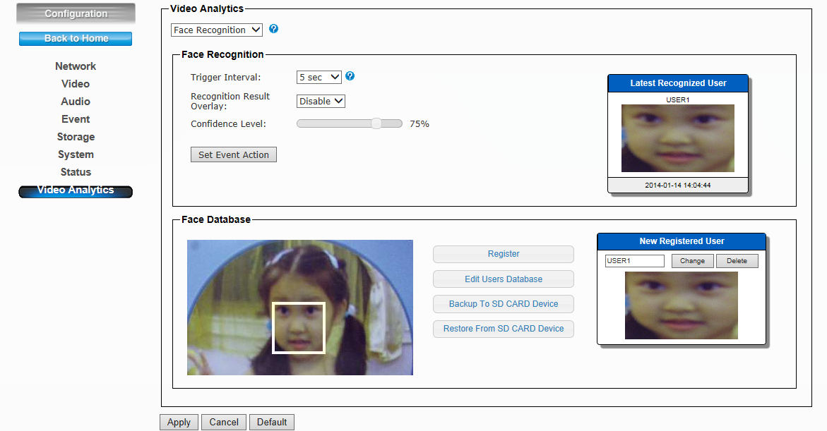 13. Video Analytics Statistics Record: This function can record how many faces have been detected.