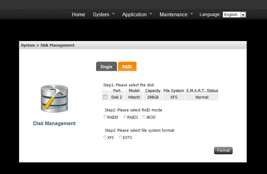 Disk Management Web configuration i.