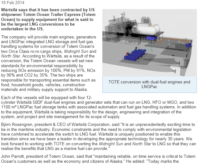 18 February 2014 2 Vessels total 94mW = North America s largest LNG conversion undertaken!