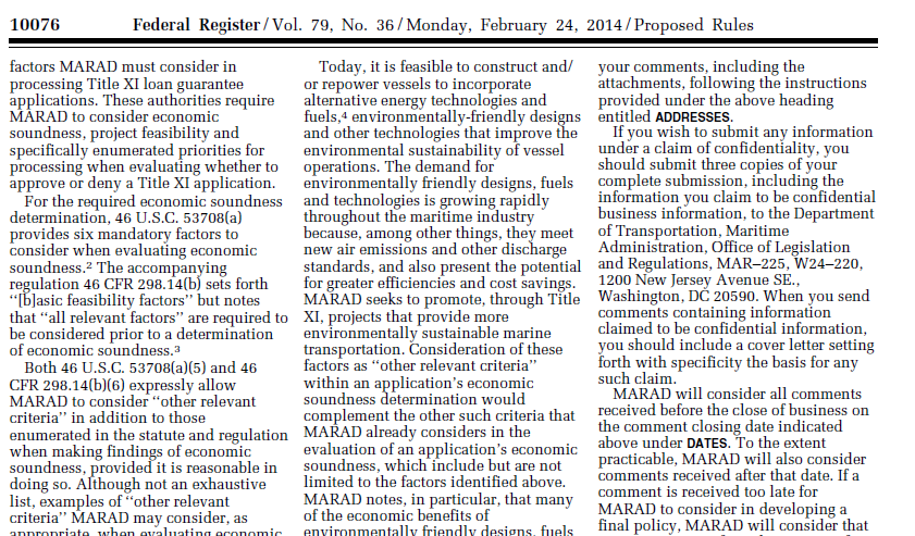 24 February 2014 MARAD Title 11 program expands economic criteria to include environmental technology LNG fuel!