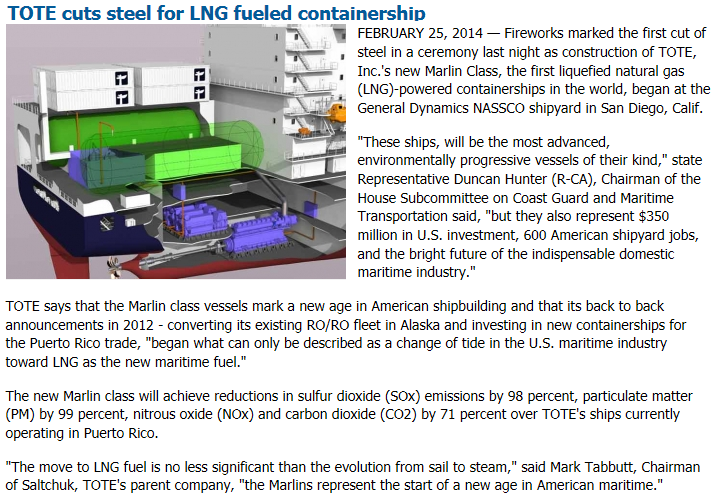 25 February 2014 1 st LNG fuel containerships commence construction @ NASSCO Source: http://www.marinelog.