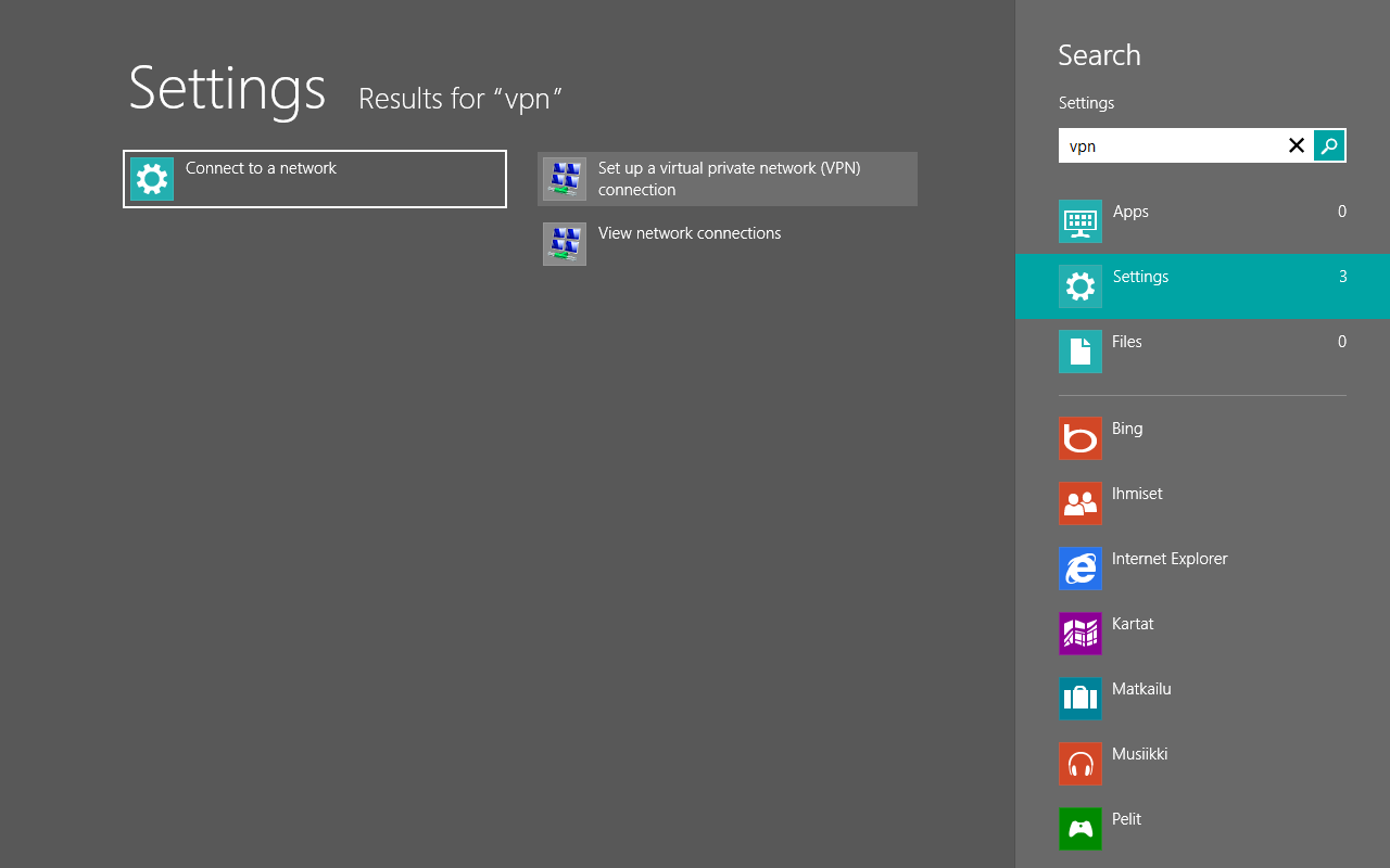 Windows 8 On home screen, type VPN and search from Settings. Select Set up a virtual private network (VPN) connection: Figure 8.