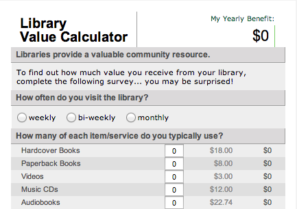 Library Value Calculator North Carolina Library Association