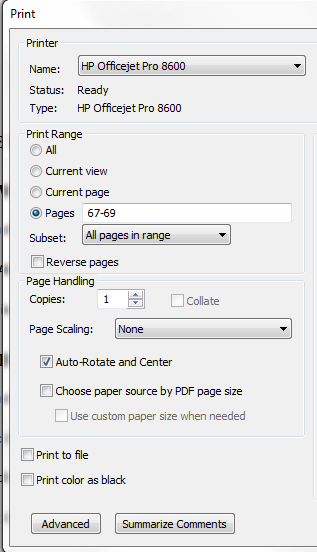 Click FILE on the top menu of the document Click PRINT A print-menu pop-up will appear Click OK or PRINT (the name of the button will depend on your computer) You can print just a section of the