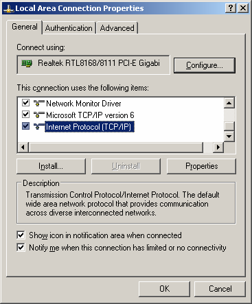 Select [Internet Protocol (TCP/IP)] =>Click [Properties].