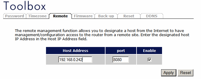 Remote Management The remote management function allows you to designate a host in the Internet the ability to configure the Broadband router from a remote site.