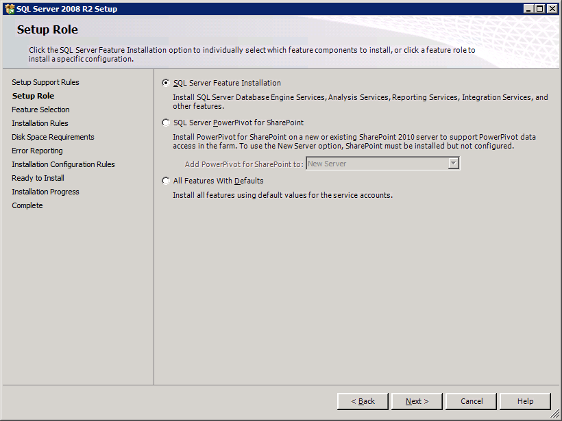 SQL Server 2008 R2 8 Allow the installation of Support Files to proceed to completion.