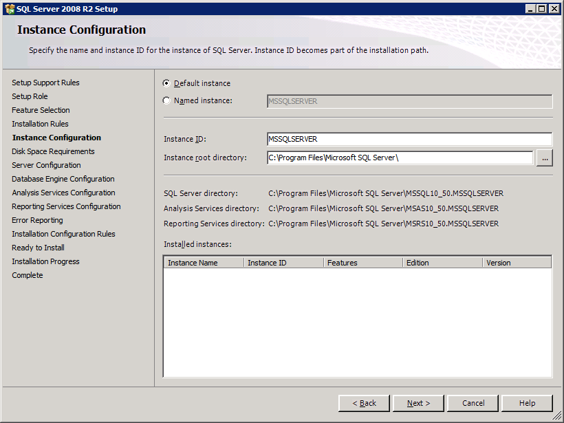SQL Server 2008 R2 11 In the Feature Selection list, select the required features for this SQL Server 2008 installation by checking the boxes of the required items.