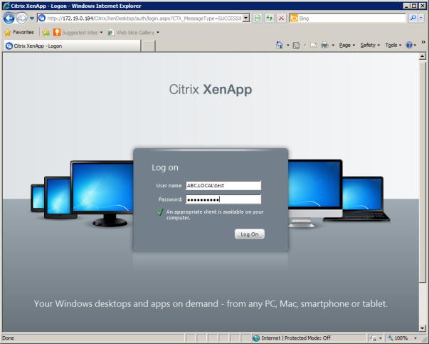 Click OK to proceed 7 From a web browser, navigate to the Web Interface XenDesktop site.