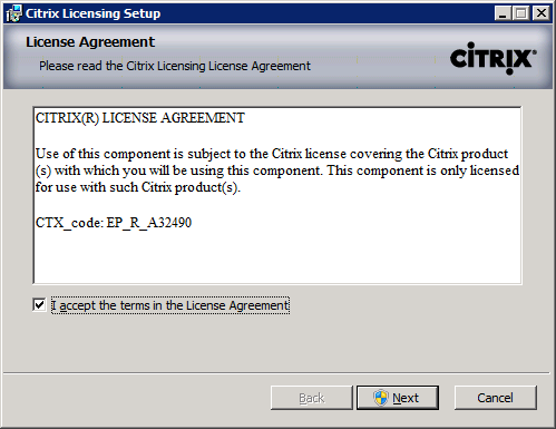 Installation - Citrix Licensing 11.9 Installing Citrix License Server 11.9 1 Connect and authenticate to the server selected to run Citrix Licensing.