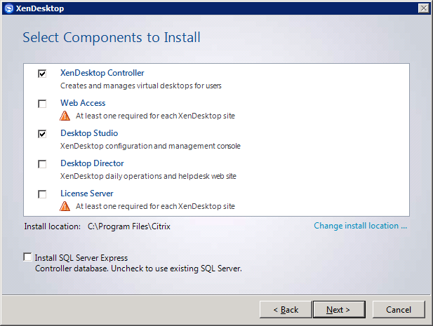Installing a XenDesktop Controller 10 Read the entire Licensing Agreement. Select the checkbox for I accept the terms and conditions and select Next to continue.