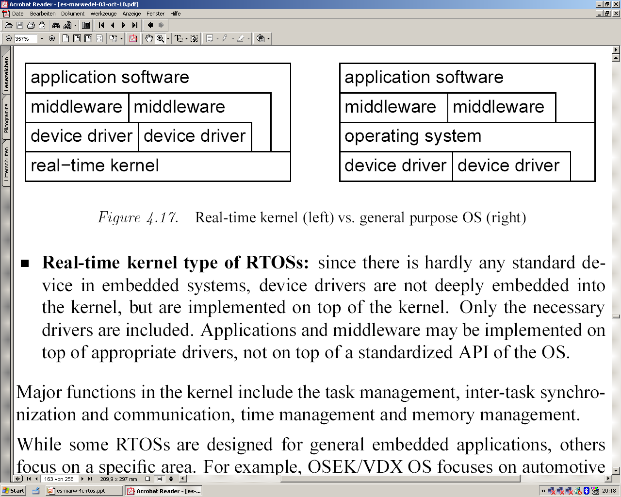 RTOS-Kernels Distinction between real-time kernels and modified kernels of standard OSes.