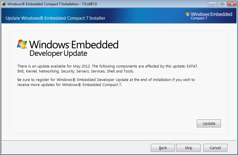 4 Carrera Racing Track Figure 4.5: Windows Embedded Compact 7 Update Dialog.